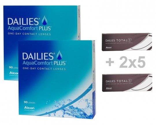 2x90 DAILIES AquaComfort PLUS + 2x5 DAILIES TOTAL1