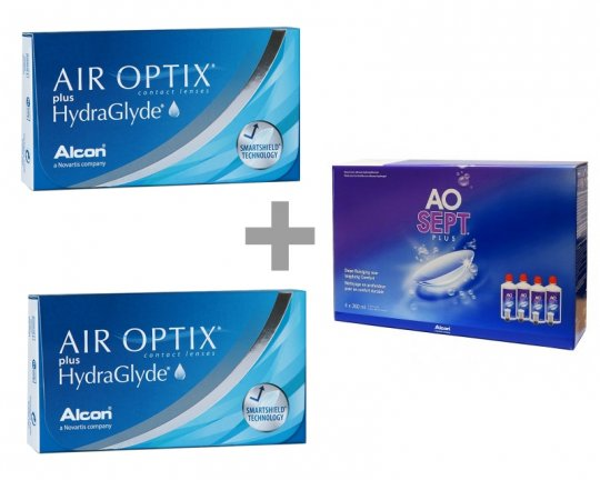 Air Optix plus Hydraglyde 2x6er-Pack + AO-Sept 4x360ml